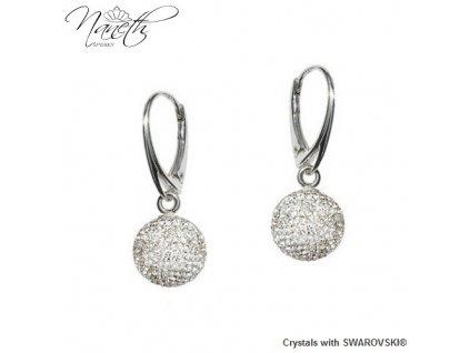 Náušnice guličky Disco Ball Naneth s bielymi kryštálmi Swarovski Crystal 12 mm
