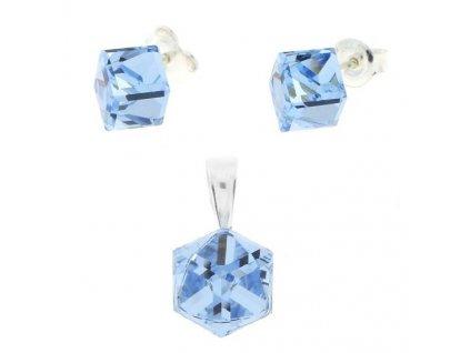 modrý set zo striebra kocka Swarovski® aqua