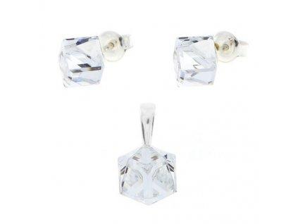 Strieborný set s čírymi kockami Swarovski® Crystal