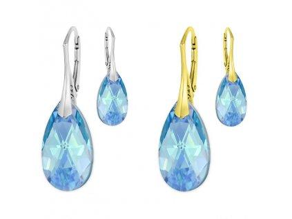 Náušnice Swarovski Elements slzy Aquamarine modré 22 mm