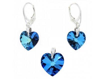 Set srdiečka s kryštálmi Swarovski Elements Bermuda Blue
