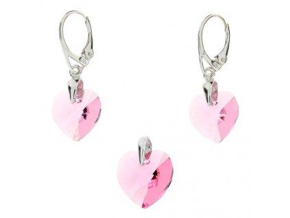 Ružový srdiečkový set Naneth s kryštálmi Swarovski Light Rose