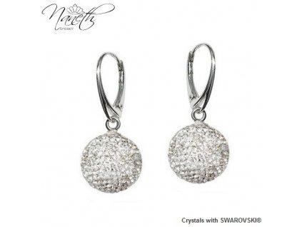 Náušnice guličky Disco Ball Naneth s bielymi kryštálmi Swarovski Crystal 14 mm