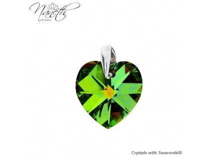 Prívesok zelené srdce s kryštálom Swarovski Heart VM 14 mm