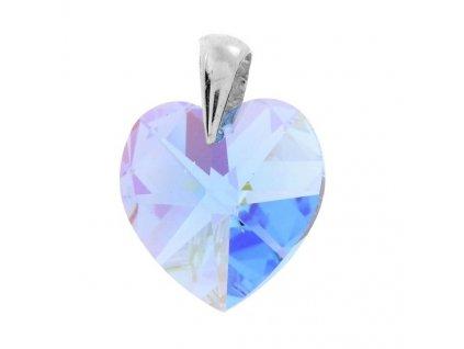Prívesok modré srdce s kryštálom Swarovski Heart Aquamarine 14 mm