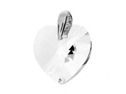 Prívesok srdce s čírym kryštálom Swarovski Heart Crystal 18 mm