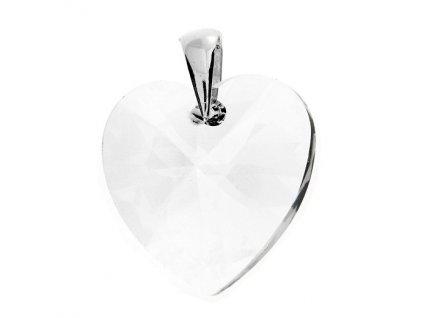 Prívesok srdce Naneth s čírym kryštálom Swarovski Heart Crystal 28 mm