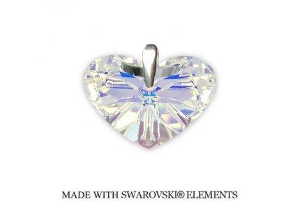 Swarovski Elements prívesok AB srdiečko 27 mm