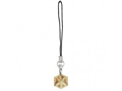 prívesok zlatá kocka swarovski® na mobil, kabelku