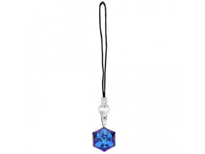 prívesok Swarovski® modrá kocka CUBE na mobil a peňaženku, kabelku