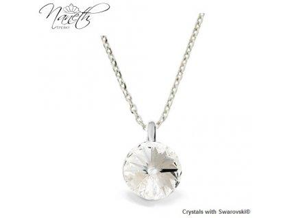 Strieborný náhrdelník Naneth s bielym kryštálom Swarovski Crystal 12 mm