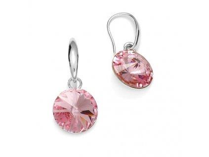 ružové swarovski náušnice na háčik