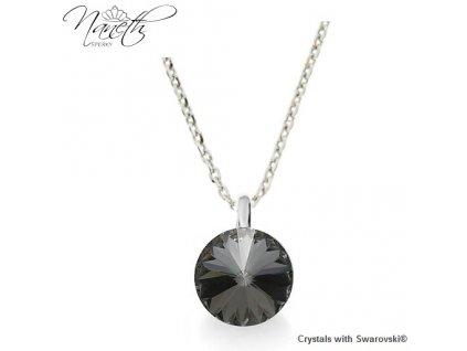 Strieborný náhrdelník Naneth s čiernym kryštálom Swarovski Silver Night 12 mm