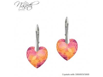 Strieborné náušnice Naneth s kryštálmi Swarovski HEART PENDANT Astral Pink