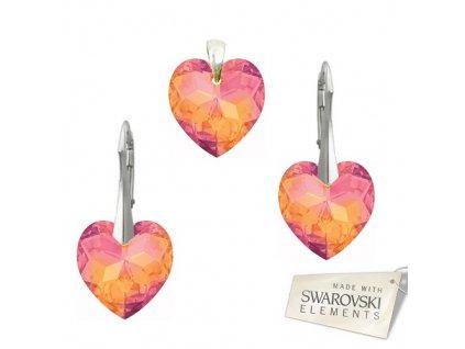 Set s kryštálmi Swarovski Elements HEART PENDANT Astral Pink