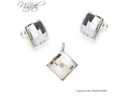 Set Chessboard Naneth s bielymi kryštálmi Swarovski Crystal