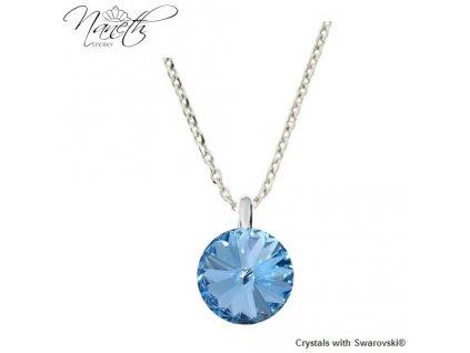 Strieborný náhrdelník Naneth s modrým kryštálom Swarovski Aquamarine 12 mm