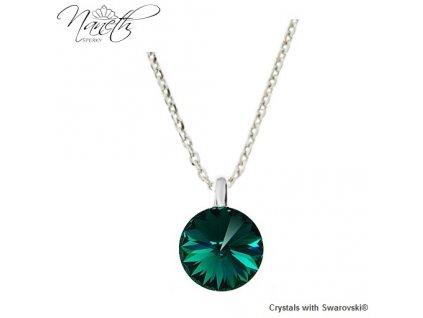 Strieborný náhrdelník Naneth so zeleným kryštálom Swarovski Emerald 12 mm