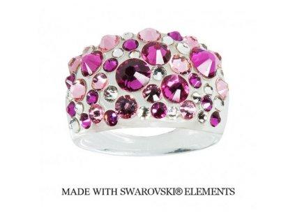 Prsteň Bubble s kryštálmi Swarovski Elements Fuchsia