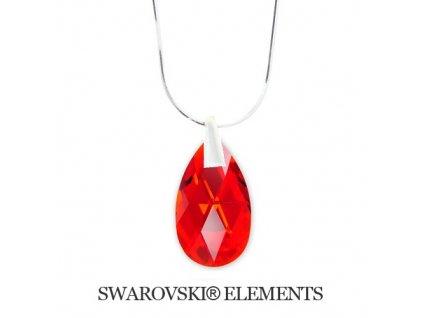 Náhrdelník Swarovski Elements slza Light Siam 22 mm