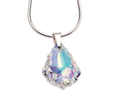 Strieborný náhrdelník Swarovski Elements s kryštálom Baroque AB