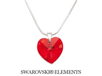 Náhrdelník srdiečko Swarovski Elements 14 mm Light Siam
