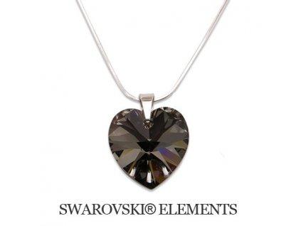Náhrdelník srdiečko Swarovski Elements 14 mm Silver Night