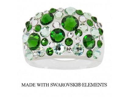 Prsteň Bubble s kryštálmi Swarovski Elements Fern Green