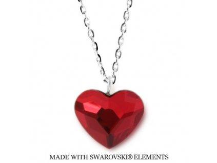 SWAROVSKI-nahrdelnik-cervene-srdce-strieborny