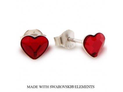 Náušnice s kryštálmi Swarovski Elements Heart Romance Siam