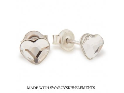 Náušnice s kryštálmi Swarovski Elements Heart Romance Crystal