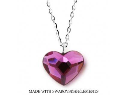 Náhrdelník s kryštálom Swarovski Elements Heart Fuchsia N2808F