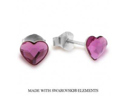 Náušnice s kryštálmi Swarovski Elements Heart Romance Fuchsia