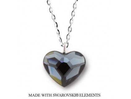 Náhrdelník s kryštálom Swarovski Elements Heart Denim Blue N2808DB