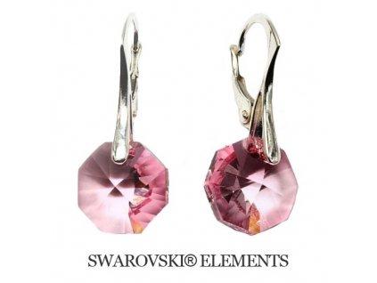 Náušnice Swarovski Elements Octagon Light Rose 12 mm