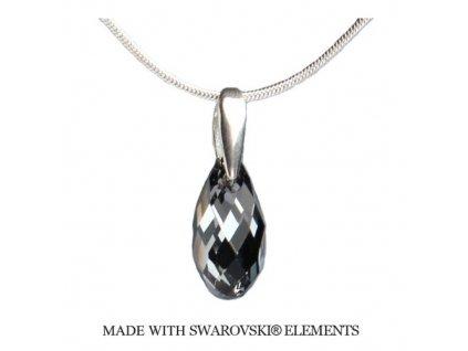 Náhrdelník BRIOLETTE s kryštálom Swarovski Elements Silver Night 17 mm