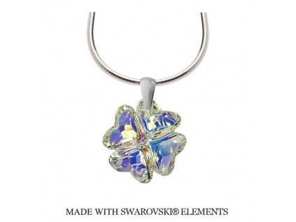 Strieborný náhrdelník NANETH s dúhovým kryštálom Swarovski CLOVER AB 19 mm