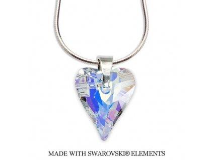 Náhrdelník divoké srdce Swarovski Elements AB 27 mm