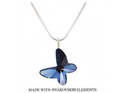 Náhrdelník BUTTERFLY s kryštálom Swarovski Denim Blue modrý