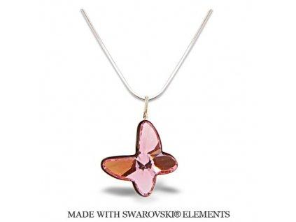 Náhrdelník BUTTERFLY s kryštálom Swarovski Light Rose ružový
