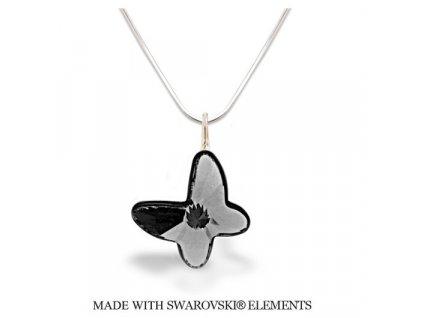 Náhrdelník BUTTERFLY s kryštálom Swarovski Silver Night čierno-strieborný