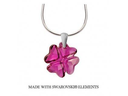 Strieborný náhrdelník NANETH s ružovým kryštálom Swarovski CLOVER Fuchsia 19 mm