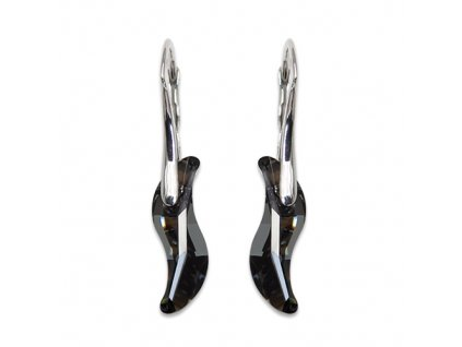 Strieborné náušnice Swarovski® Wave Silver Night 19 mm