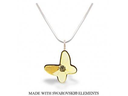 Náhrdelník BUTTERFLY s kryštálom Swarovski Jonquile žltý