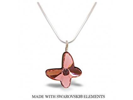 Náhrdelník BUTTERFLY s kryštálom Swarovski Rose Peach broskyňový