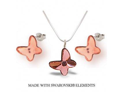 Swarovski Elements set motýlik Rose Peach 12 mm
