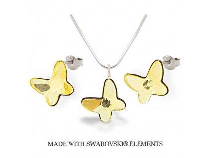 Swarovski Elements set motýlik Jonquil 12 mm