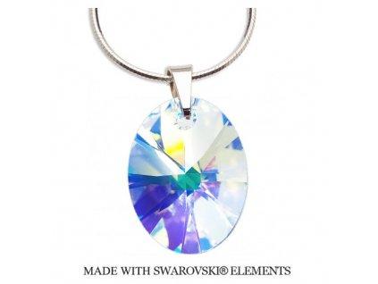 Náhrdelník Swarovski Elements Oval AB 18 mm