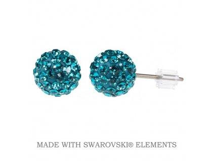 SWAROVSKI-nausnice-gulicky-napichovacky-puzety-discoball-blue-zircon