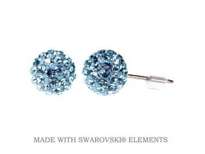 Náušnice modré guličky DiscoBall s kryštálmi Swarovski® Aquamarine